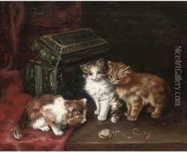 A New Toy Oil Painting - Leon Charles Huber