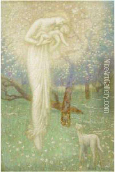 The Lamb Who Made Thee Oil Painting - Arthur Hughes