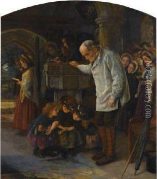 The Font - Then By A Sunbeam I Will Climb To Thee Oil Painting - Arthur Hughes