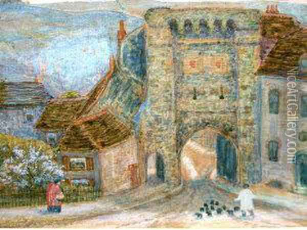Figures By A Fortified Gate Oil Painting - Arthur Hughes