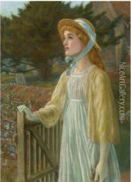 At The Church Gate Oil Painting - Arthur Hughes