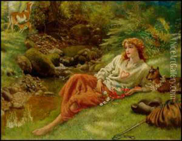 In The Forest Of Arden Oil Painting - Arthur Hughes