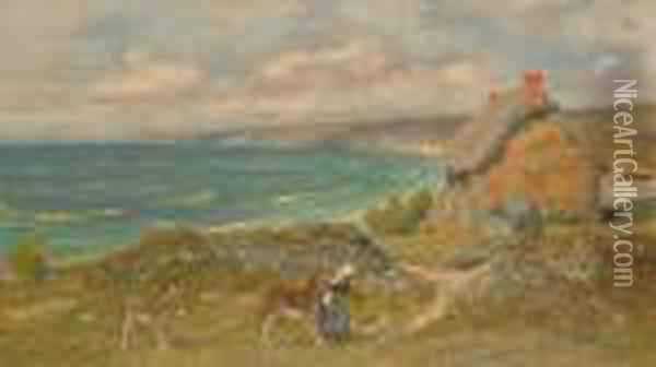 Reigning The Donkey In. Oil Painting - Arthur Hughes