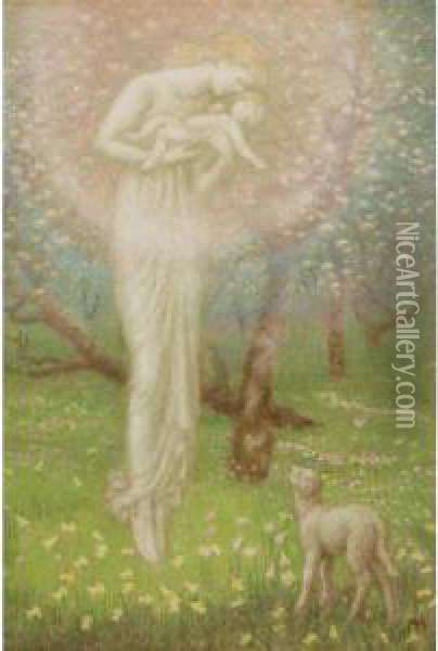 Little Lamb Who Made Thee Oil Painting - Arthur Hughes
