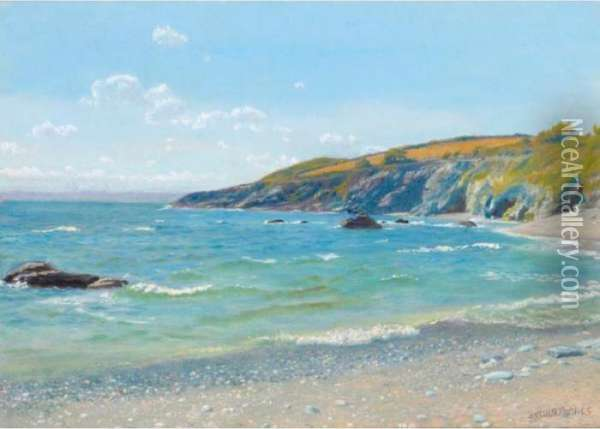 Perran Point, Cornwall Oil Painting - Arthur Hughes