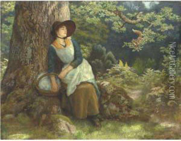 Asleep In The Woods Oil Painting - Arthur Hughes