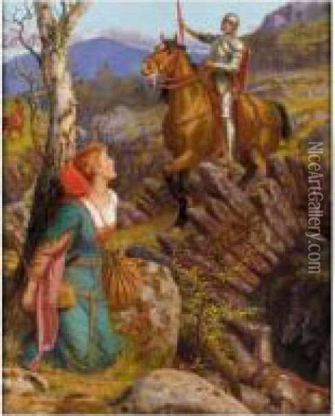 The Overthrowing Of The Rusty Knight Oil Painting - Arthur Hughes