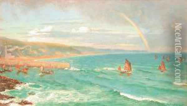 Boats Going Out Oil Painting - Arthur Hughes