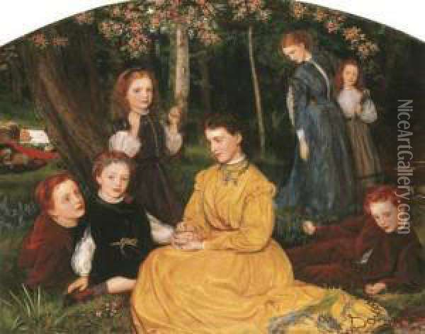 A Birthday Picnic - Portraits Of  The Children Of William And Anne Pattinson Of Felling, Near Gateshead Oil Painting - Arthur Hughes