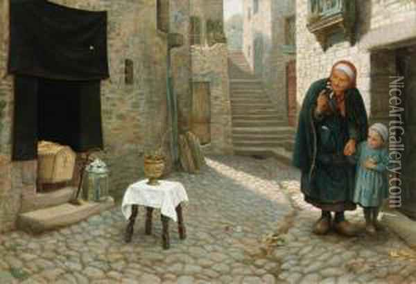 The Old Neighbour Gone Before: A Street Episode In Brittany Oil Painting - Arthur Hughes