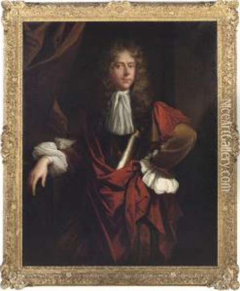 Portrait Of A Gentleman,  Three-quarter-length, In A Buff Coat, Abreast Plate And A Burgundy Wrap Oil Painting - Jacob Huysmans