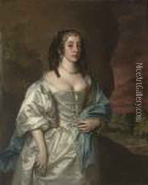Portrait Of A Lady Of The  Osborne Family, Three-quarter-length, In An Oyster Satin Dress And Blue  Wrap, With Pearl Ornaments, A Landscape Beyond Oil Painting - Jacob Huysmans