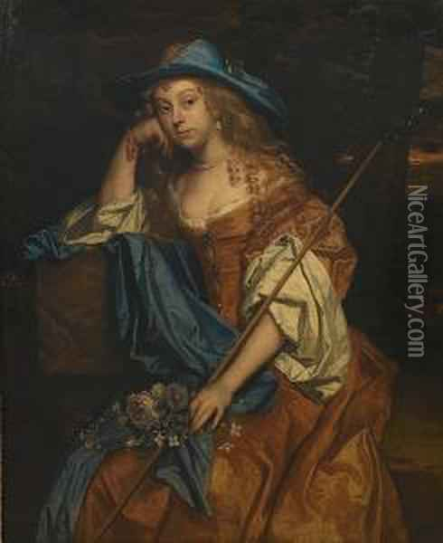 Portrait Of A Lady,  Three-quarter-length, In A Gold Satin Dress With A Blue Wrap And A Blue  Hat, Holding A Shepherd's Crook, Seated In A Landscape Oil Painting - Jacob Huysmans
