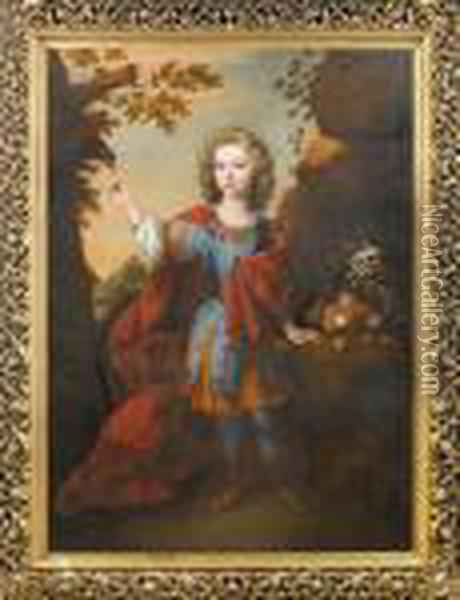 Portrait Of A Boy, Standing  Full-length, In Roman Dress, In A Landscape, Feeding A Parrot, Beside A  Still Life Of Fruit Oil Painting - Jacob Huysmans