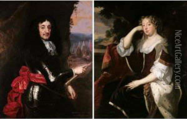 Portraits Of John, 1st Earl Of Middleton (1608-1673); And Martha, His Wife Oil Painting - Jacob Huysmans