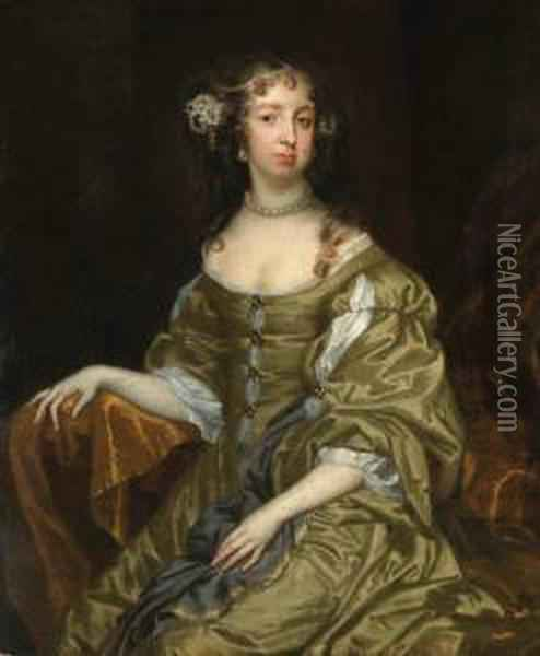 Portrait Of Lady Cotton, Three-quarter Length, Seated, In A Greenand White Satin Dress Oil Painting - Jacob Huysmans