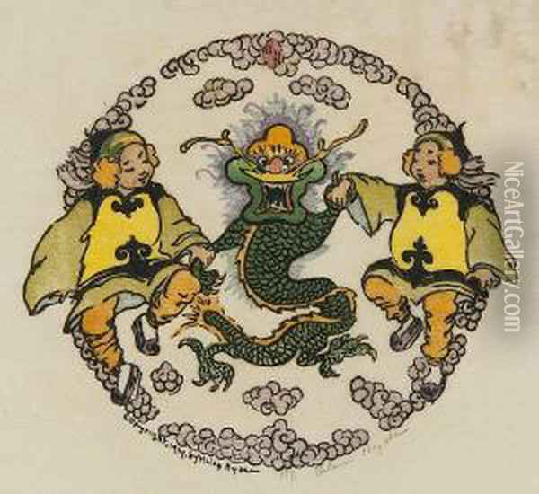 Confidences; Happiness Flower;  Miss Apricot Cloud; Blue Umbrella; Furious Dragon; Lucky Branch Oil Painting - Helen Hyde