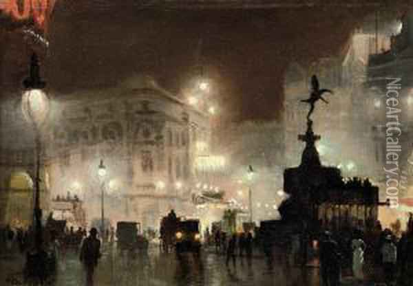 Picadilly Circus Oil Painting - George Hyde Pownall