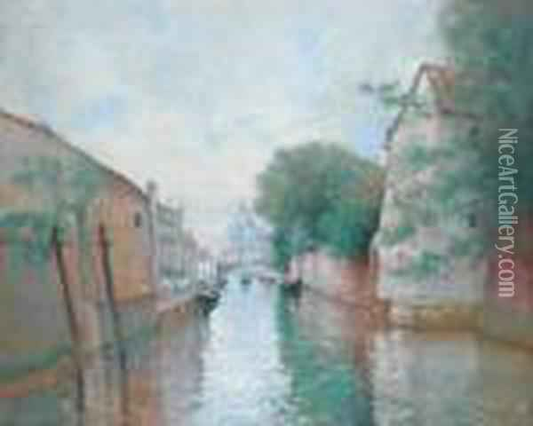 Canal Santa Croce A Venise Oil Painting - Marie Joseph Leon Clavel Iwill