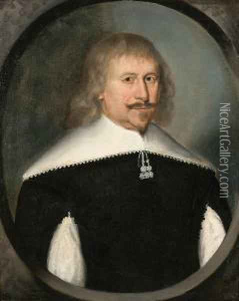 Portrait Of A Gentleman,  Half-length, In A Slashed Black Doublet, With A White Collar, In A  Painted Oval Oil Painting - Gilbert Jackson