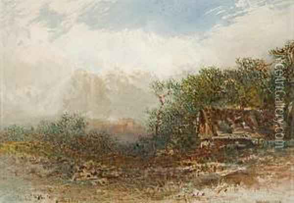 Cabin In A Mountainous Landscape Oil Painting - Otto Reinhard Jacobi