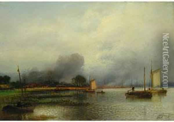 Segelboote Am Flussufer Oil Painting - Jacobus Jacobs