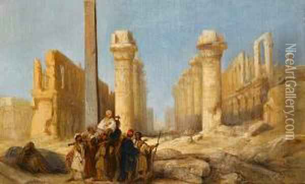 A Gentleman On The Grand Tour, Inspecting The Ruins At Karnak Oil Painting - Jacobus Jacobs