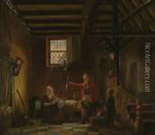 Displaying The Catch In The Cottage. Oil Painting - Jacobus Jacobs