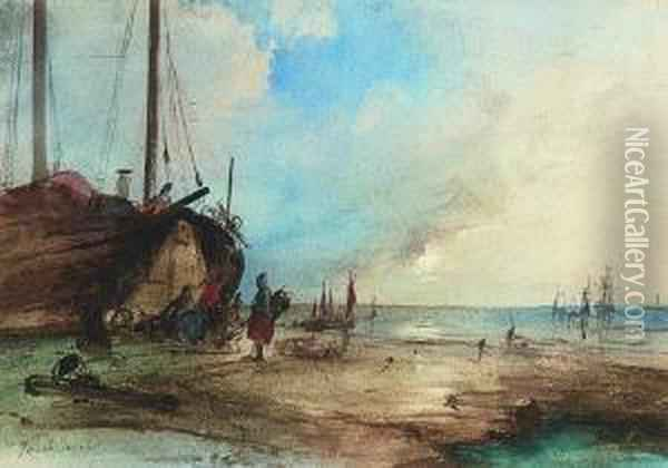 Fischerboote Am Strand. Oil Painting - Jacobus Jacobs