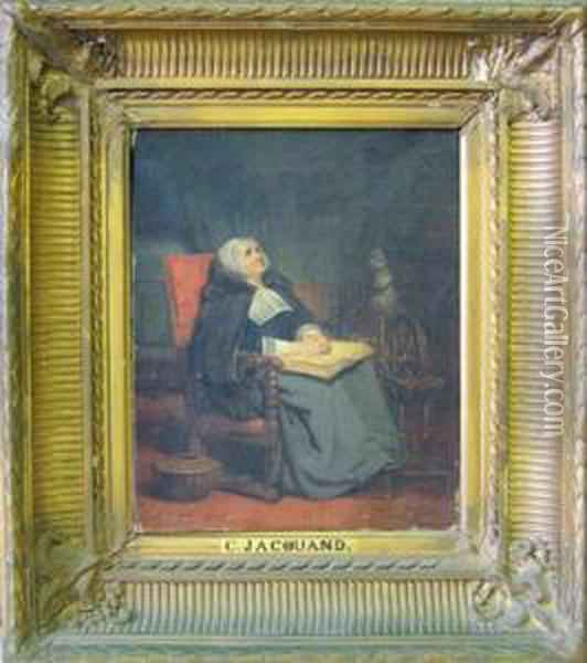 Seated Woman In Interior Oil Painting - Claude Jacquand