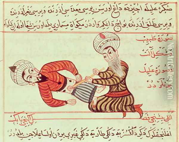 Ms Sup Turc 693 fol.95 Surgical puncture of the abdominal cavity of the aspiration of peritoneal fluid with a canula on a patient suffering from dropsy, 1466 Oil Painting - Charaf-ed-Din
