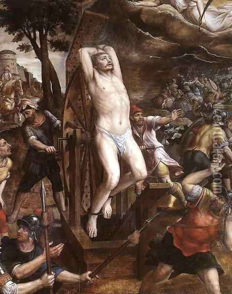 The Torture of St George 1580s Oil Painting - Michiel van Coxie