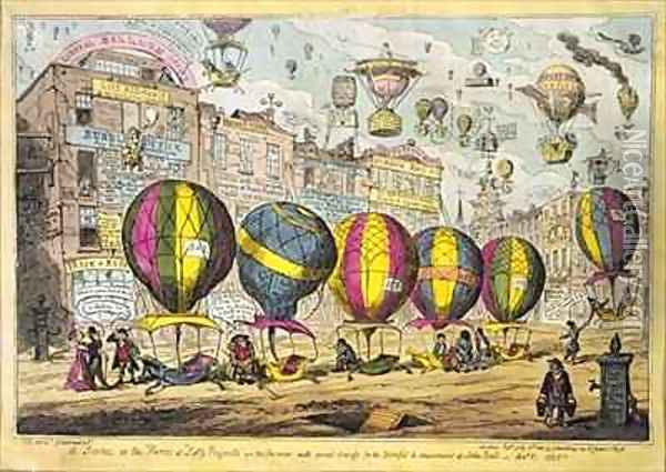 Scene in the Farce Lofty Prospects as performed with great success for the Benefit and amusement of John Bull Oil Painting - George Cruikshank I