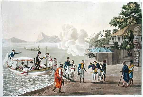 First disembarkation of the French at the Portuguese outpost at Dille, Timor, plate 5 from 'Le Costume Ancien et Moderne' Oil Painting - Felice Campi