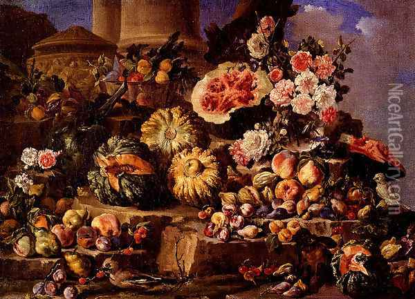 Still Life Of Fruit And Flowers On A Stone Ledge With Birds And A Monkey Oil Painting - Michele Pace Del (Michelangelo di) Campidoglio