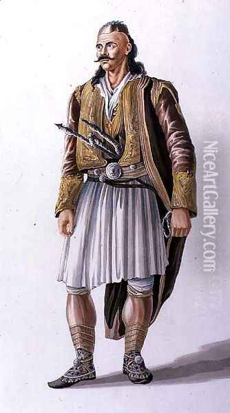 Captain of Suliote Albanians, illustration from Canto II of 'Child Harold's Pilgrimage', 1822 Oil Painting - Joseph Cartwright