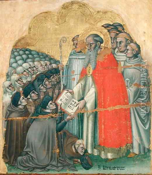 St. Bernard Tolomeo (1272-1348) giving the Rule to his Order Oil Painting - Simone dei Crocefissi