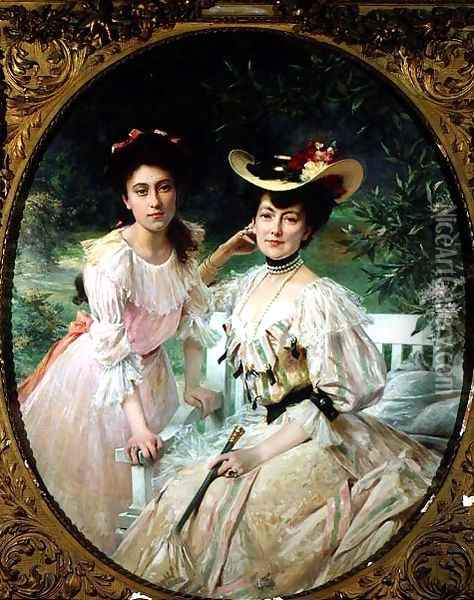 Madame Collas and her Daughter, Giselle, 1903 Oil Painting - Theobald Chartran