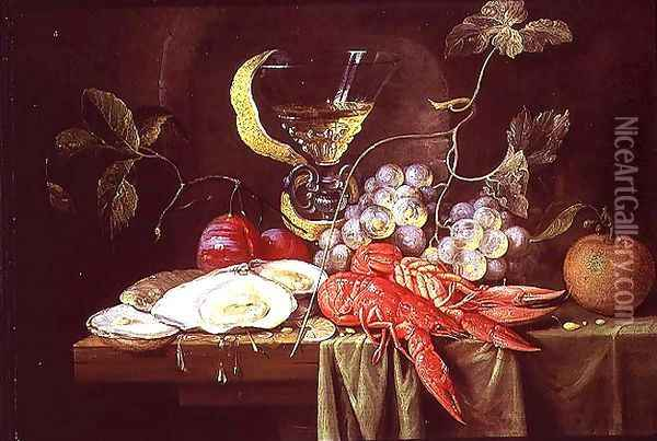 Still life with lobster, oysters and fruit Oil Painting - Alexander Coosemans