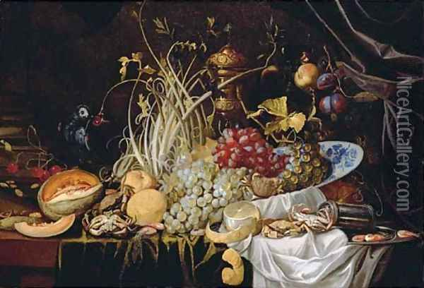 A Dutch Delft blue and white bowl with grapes, prawns on a pewter plate, crabs, a partly-peeled lemon and a melon on a partly-draped table Oil Painting - Alexander Coosemans