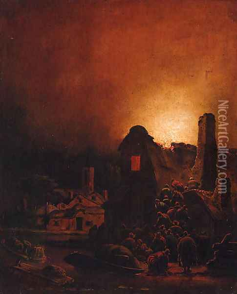 A fire in a village at night Oil Painting - Adam Colonia