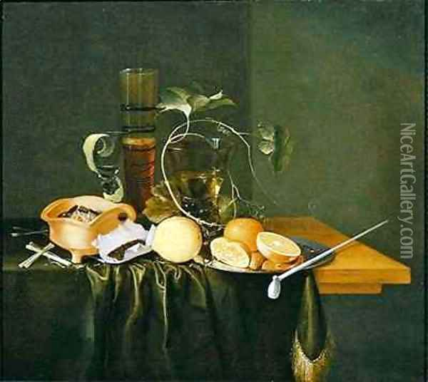 Still Life of a Roemer surrounded by Vine Tendrils and fruits Oil Painting - Laurens Craen