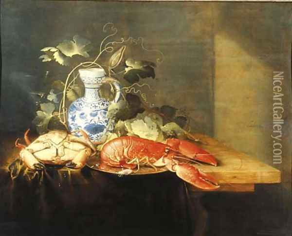 A lobster on a pewter plate, a crayfish, a vine decorating a Delft earthenware jug and a facon-de-Venise wine glass on a draped table Oil Painting - Laurens Craen