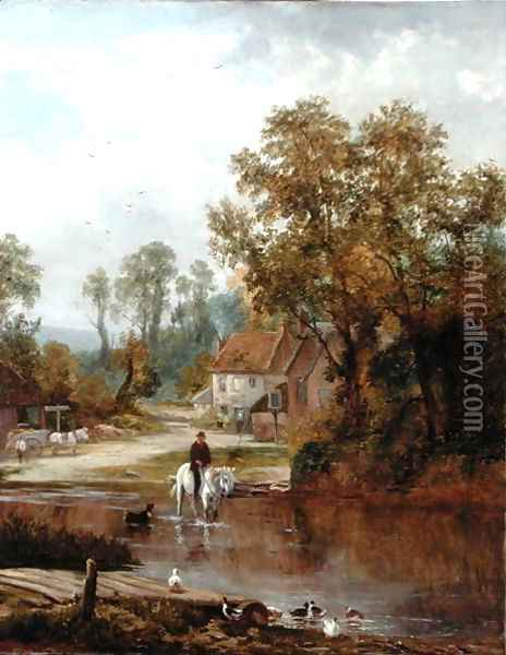 A ford on the River Arun Oil Painting - Sidney Clark