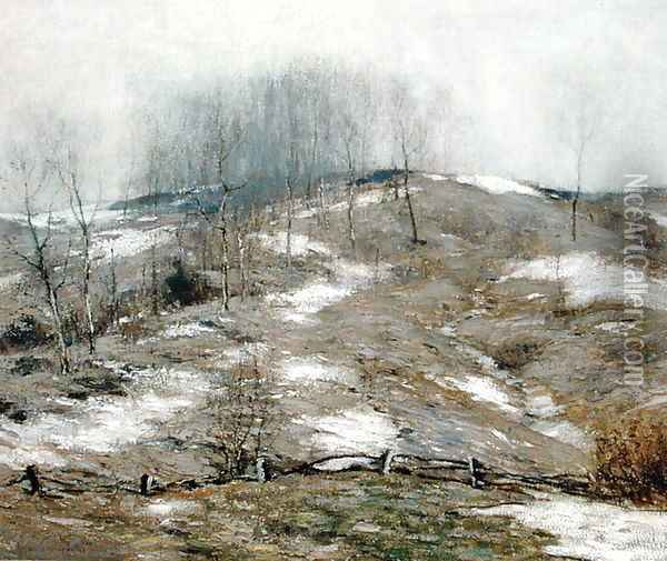 Lingering Winter 1925 Oil Painting - Bruce Crane