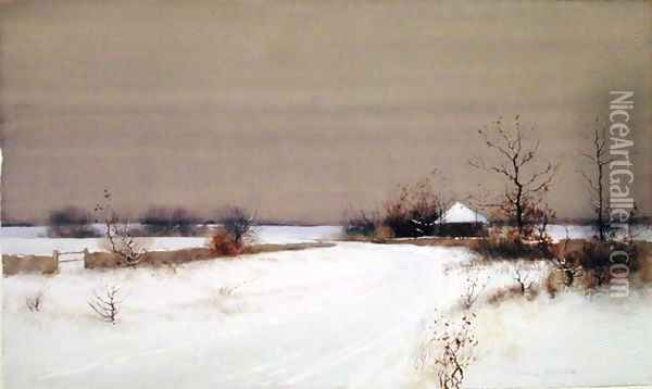 Snow Scene in Country, c.1890 Oil Painting - Bruce Crane
