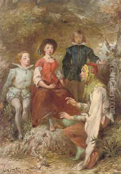 A court jester with a captive audience Oil Painting - Charles Cattermole