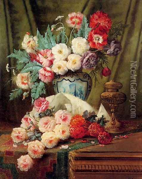 Still Life Of Roses And Other Flowers On A Draped Table Oil Painting - Modeste Carlier