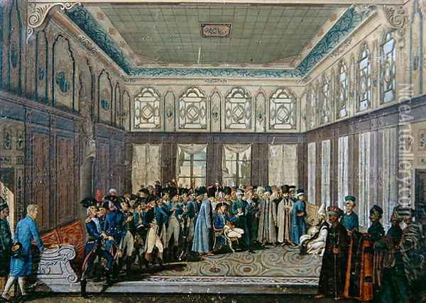 Reception of General Aubert-Dubayet by the Grand Vizier of the Sultan in Constantinople, 1796-7 Oil Painting - Antoine-Laurent Castellan
