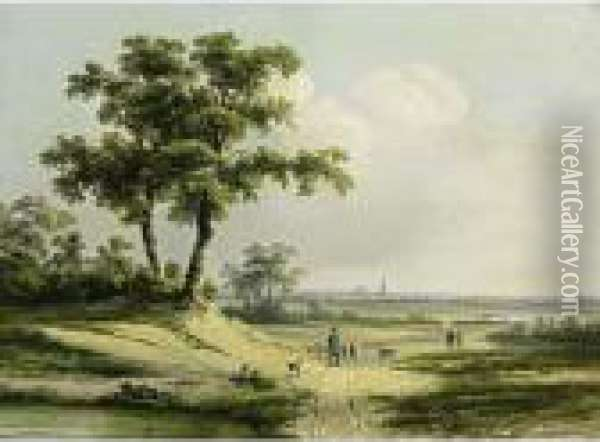 An Extensive Landscape With A Shepherd And Travellers On A Sandy Track Oil Painting - Johan Maurisz Jansen